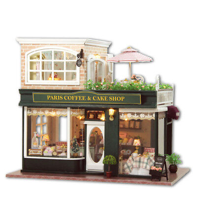 DIY Doll houses Miniature Wooden Dollhouse Kit Pairs Coffee & Cake Shop For Xmas