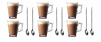 Set of 6 Latte Glasses Mugs 240ml  + FREE Pack of 6 Long Handle S/Steel Spoons