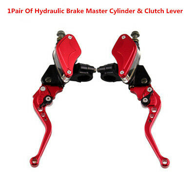 2Pcs Red Hydraulic Brake Clutch Master Cylinder Reservoir Lever For Most Motor