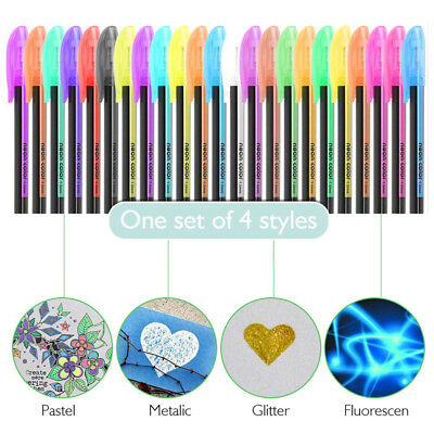 48x Gel Pen Set Adult Coloring Book Ink Pens Drawing Painting Craft Writing Top