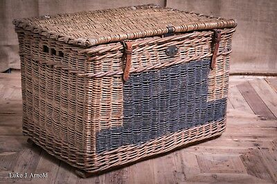 Antique Edwardian Wicker Cane Country House Game Basket Hamper Box