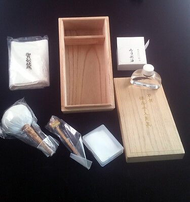Japanese Sword Maintenance Tools Set In Wooden Box