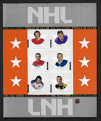 Canada Stamps — Full Pane of 6 in Cover — 2004, NHL All-Stars - 5  #2017 — MNH