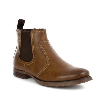 Beckett Mens Brown Contrast Stitch Chelsea Boot - Sizes 6,7,8,9,10,11,12