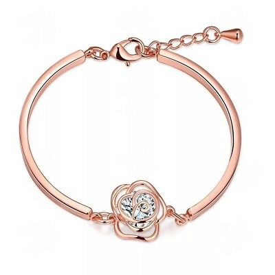 AZZURRE Women's 18K Rose Gold Plated Zircon Crystal Rose Ladys Bangle Bracelet