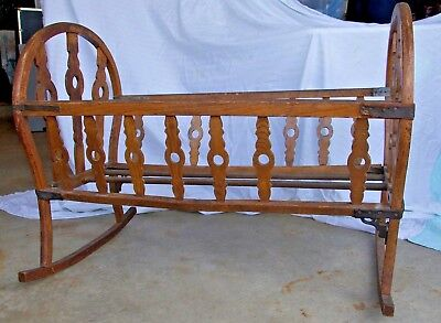 Antique 1860's Baby Wooden Rocking Cradle - Great Condition!