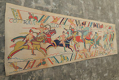 Large Vintage French Bayeux Tapestry Battle 213x65cm (A736)