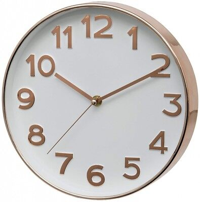 Rose Gold Battery Wall Clock Silent Sweep, Unity Bakewell Range 25 cm wide #840