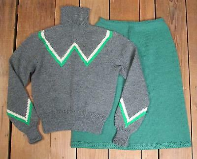 Vintage 1950s Wool Sweater w/Matching Skirt Handmade Figure Skating Outfit Nice