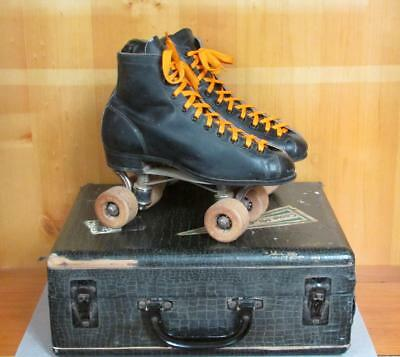 Vintage Black Leather Mens Chicago Roller Skates Sz.6 w/Birch Case Mt.Gretna,PA
