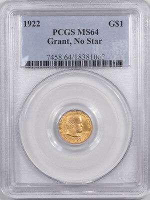 1922 Grant Commemorative $1 Gold - No Star Pcgs Ms-64