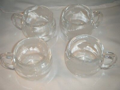 4 Nestle World Globe Etched Frosted Glass Mugs Vintage Nescafe