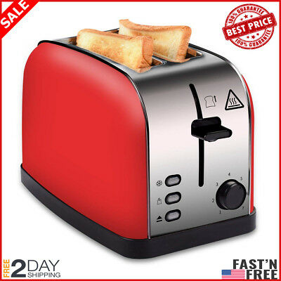 2 Slice Toaster Red, Brushed Stainless Steel Toaster with Extra Wide Slots
