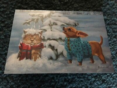 Leanin' Tree Christmas Card - Cat Theme - Inventory #1118
