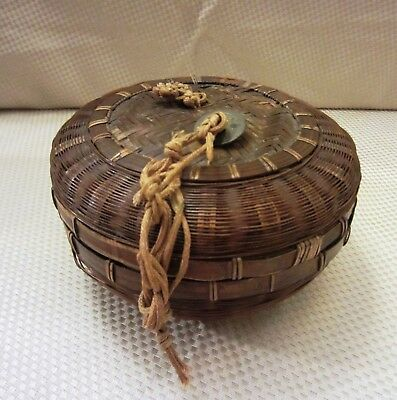 Unusually Small Vintage Chinese Sewing Basket with Original Ties & Coins