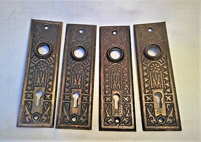 Antique Hardware, Door Plate, 1890, Bronze, Ornate, Eastlake Style, Deco