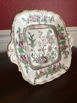 Coalport EnglishBone China Indian Tree Square Handled Cake Plate 10 3/8""