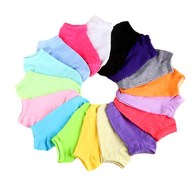 Women Ladies Low Cut Cotton Socks Boat Ankle Socks Mixed Color LOT 20Pairs/Pack
