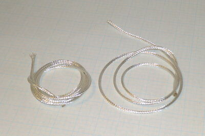"Silver Plated Copper Braid Wire 14Awg  40"" x2 Pcs   Free Ship   (K2)"