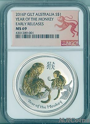 2016 P Australien Gilded Silber Lunar Year Of The Monkey NGC Ms 69 29.6ml Münze
