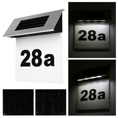 Solar Power 4 LED Number Doorplate Light Lamps Wall Plaque Home/Garden Decor