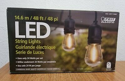 Feit Electric 48ft LED String Lights Outdoor Weatherproof Energy Saving   ~NEW~