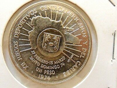1974 Dominican Republic One Peso Silver Coin