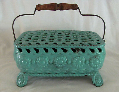 Antique French Enameled Cast Iron Carriage Foot Warmer Heater No. 14 - c.1900s