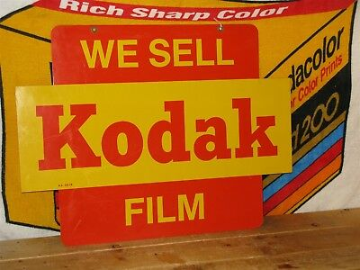 "Vintage Kodak ""We Sell Kodak Film"" Double Sided Metal Sign 24 x 18 inches"