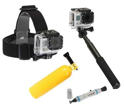 SUNPAK Action Camera Accessory Kit Head Mount Selfie Wand Float Grip-fits GO PRO