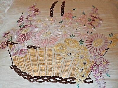 Vintage Linen Cushion hand stitch embroidery + feather pad, 63 by 50 cm