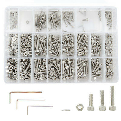 1080PC Assortment M2 M3 M4 Stainless Steel Hex Head Set Screw Bolts and Nuts Kit