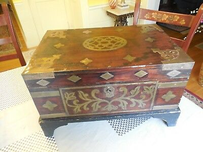 Antique Asian Rosewood and Brass Document Box on Stand