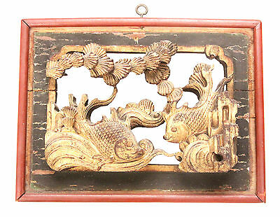 Antique Chinese Qing Carved Wood Panel Gold Gilt Goldfish Fish Temple China Old
