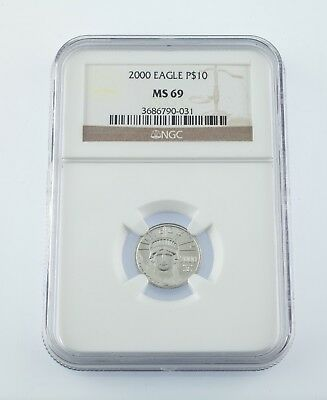 2000 Platinum 1/10 Oz. American Eagle P$10 Graded by NGC as MS69