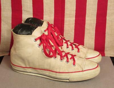 Vintage 1960s Bata Bullets Canvas Basketball Sneakers Shoes Sz 15.5 Made in USA