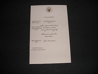 White House State Dinner Menu President Lyndon Johnson Madagascar 1964 S)