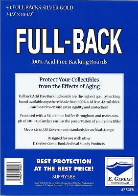 50 Full Back SILVER/ GOLD 42pt Acid Free Comic Backing Boards 750FB by E. Gerber