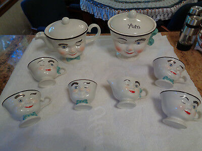 BAILEYS YUM COLLECTION WINKING PORCELAIN TEAPOT SET 10PCS 1996 Limited Edition