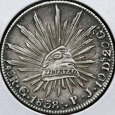 1838Go-PJ EIGHT 8 REALES REPUBLIC OF MEXICO
