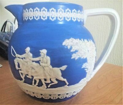 Antique Copeland Jug Blue Jasperware Hunting Scene with Stag & Hounds 6.25 in's