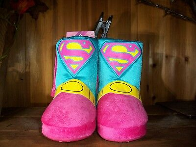 Superman Toddler Girls Slipper Boots Size Xl 11-12 Pink Blue Shoes Super Hero