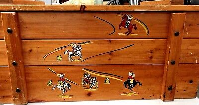 Antique WOOD TOY BOX Vintage Chest Western Cowboys Cowgirls Rodeo Horses