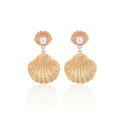 Gold Silver Tone Shell Shaped Studs Shell Out Studs Earring Ear Jewelry LH