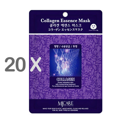 20 xThe Elixir Beauty Nature Essence Collagen Full Face Facial Mask Sheet, 23ml
