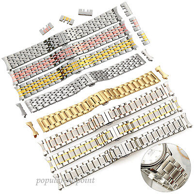 14/16/18/19/20/21/22mm Solid Bracelet Watch Bands Straight+Curved End Strap Part
