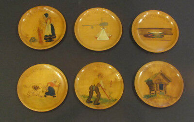 "Vtg NORWEGIAN HAND PAINTED WOODEN PLATES Complete set ""The old Lady with a stick"