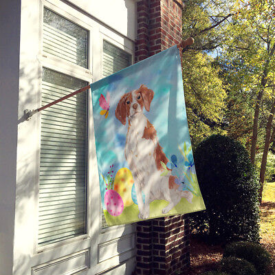 Carolines Treasures  BB9609CHF Brittany Spaniel Easter Flag Canvas House Size