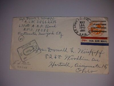 Cover Envelope with letter may 1945 US Army postal service Ohio - plane stamp