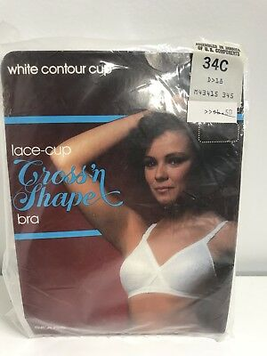 Vintage Sears Bra Cross n Shape Lace Contour Cup White 34C New Old Stock